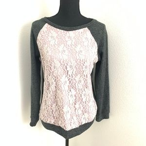 Bobeau Floral Textured Cotton Blend Sweater